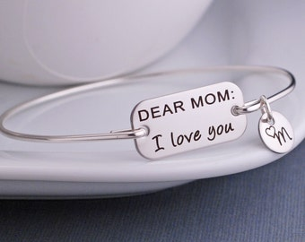 Mother's Day Gift, Dear Mom, I Love You Bracelet, Personalized Christmas Gift Jewelry for Mom, Bangle Bracelet