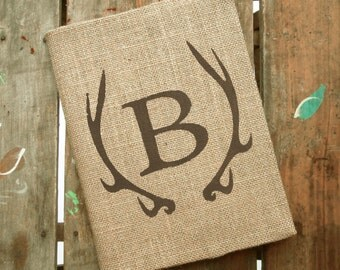 Deer Antler Monogram Journal - Monogram Burlap Journal Cover w. Notebook Monogrammed Journal Personalized - Journal Lined  or Journal Blank