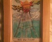 The Tower - Framed print card from Fishchild Tarot deck.