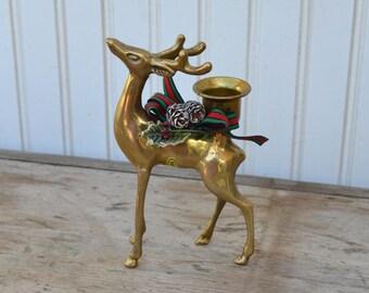 Brass Deer Candle Holder - Box - Royal Hill Vintage