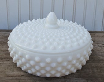 Hobnail Milk Glass Candy Dish with Lid - Royal Hill Vintage