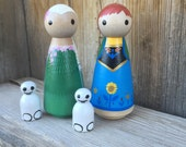 Frozen Fever, Princess Anna, and Queen Elsa, with two sneeze snowmen -  Pegbuddies Wood Peg Doll Peg People Birthday Cake Topper