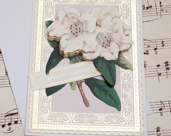 Congratulations Card, 3D Wedding Card, Handmade Wedding Card, Blank Card, Anna Griffin, Floral Special Occasion, Wedding Shower Card