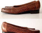 sale 80s Leather slip on Loafers / Classic Woven Leather Shoes / Flats / Made in Brazil / tobacco brown / sz 7.5 8 N