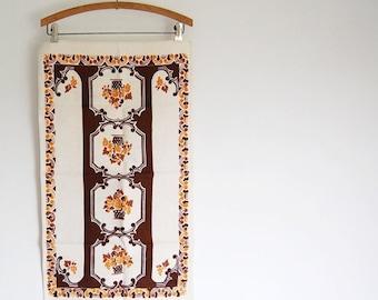 sale vintage printed kitchen towel / linen cotton dish towel / fruit basket novelty print / chocolate brown mocha goldenrod