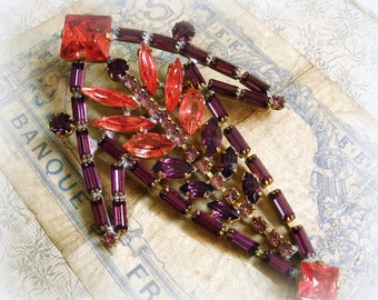 overSized vintage czech rhinestone brooch Husar.D punch color combination rose padparadscha and amethyst