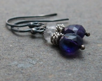 Amethyst Earrings Crystal Quartz Purple, Clear February Birthstone Oxidized Sterling Silver Earrings Gift for Her
