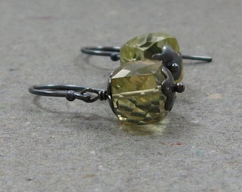 Lemon Yellow Quartz Earrings Geometric Jewelry Minimalist Oxidized Sterling Silver Cube Earrings