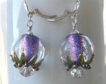 Swarovski Crystal and Lampwork Beaded Dichroic Dangle Earrings   handmade  srajd holiday new years party