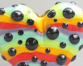 Rainbow Pop Dot Heart--Handmade Lampwork Glass Bead