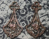 Gorgeous old French gingerdread brass Ribbon stampings for earrings..