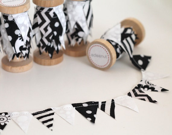 Black and White Fabric wedding cake Mini Bunting. Spool of Ribbon for gift wrapping.
