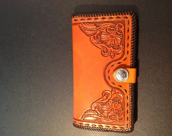 Hand Tooled Leather Clutch Purse