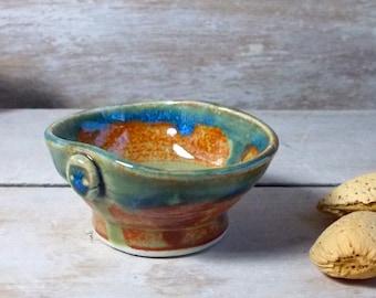 Raindrop Pot, Tiny Stoneware Bowl, Blue Green and Burnt Orange, Button, Handmade Stoneware, Miniature Offering Ritual Altar,Ready to Ship