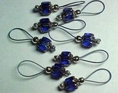 Cobalt Blue Cathedral Glass Stitch Markers On Stormy Blue Wire - US 10 - Item No. 616