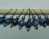 Blue Denim Sodalite Gemstone Stitch Markers - US 5 - Item No. 460