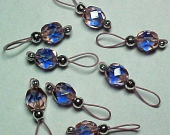 Pink and Blue Beads on Blush Pink Wire Stitch Markers -  US 5 - Item No. 615