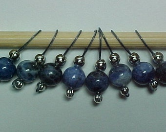 Blue Denim Sodalite Gemstone Stitch Markers - US 5 - Item No. 460
