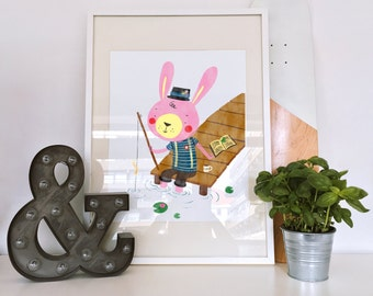 Affiche - Fishing rabbit - print - children print