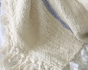 HAND WOVEN MERINO Baby Blanket Soft Lilac and Blue