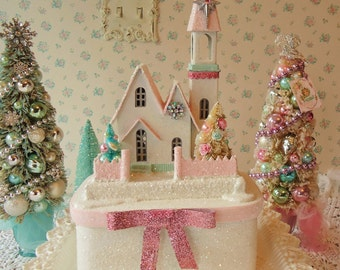 Lighted Putz Church - Shabby PINK ROSES, Bottle Brush Trees