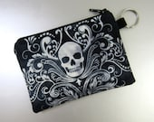 Damask Skull - Coin Purse with key ring - Change Purse - Zippered Pouch - Blue - Black - White - Damask - Skull