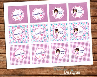 Doc McStuffins Inspired Printable Cupcake toppers or favor tags - instant download