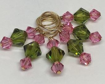 Olivine and Rose Swarovski Crystal Stitch Markers