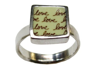 Anniversary Ring - Sterling Silver and Vitreous Enamel with Repeating Love Script