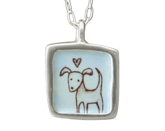 "Dog Necklace - Reversible Sterling Silver ""talks to dogs"" Necklace"