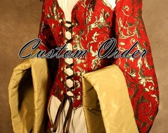 Custom Fit To You Tailed Courtier Pirate Coat Corset With Sleeves