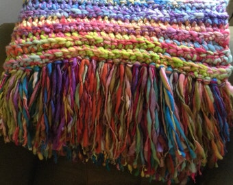 Sofa Blanket Hand Dyed Hand Spun Crochet Blanket Afghan Wedding Shower House Warming