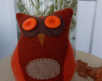 Recycled Cashmere Owl Tooth Fairy Pillow - Rust, Brown and Orange