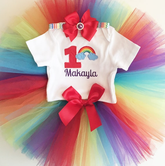 Rainbow 1st Birthday Tutu Outfit- Personalized- Baby Girl