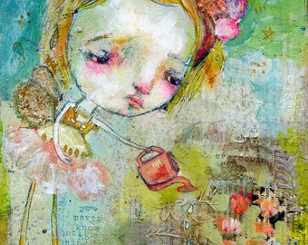 Flower Watering Fairy - mixed media art print by Mindy Lacefield