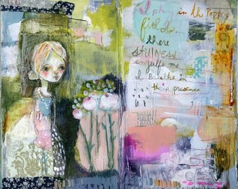 Play in the Poppy Fields - mixed media art print by Mindy Lacefield