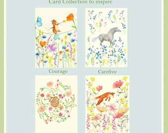 In the Meadow Cards - Set of 4 Watercolor Cards - Joy, Peace, Courage & Carefree