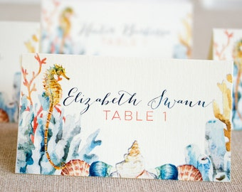 Seahorse Wedding Reception tented Place Cards - destination wedding - beach wedding - watercolor seahorse - tropical place card - seashells