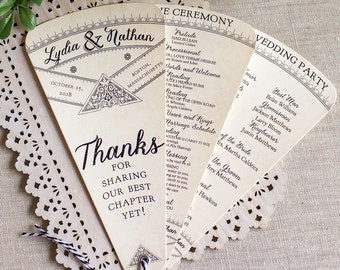Wedding Program Fan - Literary Wedding - Library Wedding - Fan Wedding Programs - black and silver wedding - wedding ceremony program