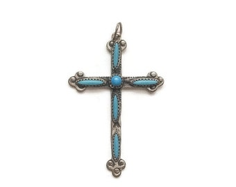 Vintage Sterling and Turqoise Cross Pendant, handmade and petite, beautifully detailed