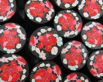 Polymer clay red flowers cane