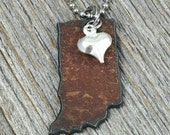I Love INDIANA Necklace | SMALL Rustic Recycled Metal State Outline Shape with Tiny Silver Heart Charm