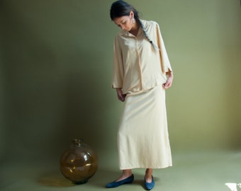 pale yellow silk skirt set / maxi skirt / button down blouse set / m / l / 1702t / B11