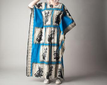 romance of astree tribal print caftan dress / ethnic dress / oversized hippie maxi dress / s / m / 1470d