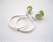 Green Peridot Onion Cut Briolette Sterling Silver Earrings UK Seller