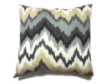 Decorative Pillow Cover Black Ivory Gray Sand Modern ZigZag Chevron Toss Throw Accent 18x18 inch x
