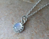 Rose Cut Rainbow Moonstone 8mm or 10mm Pendant Necklace Sterling Silver, Princess Crown Gallery Bezel, Gift for Her, June Birthstone, Womens