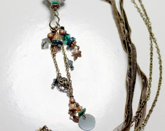 Baroque Lampwork, Brass and Mixed Accent Comet Pendant