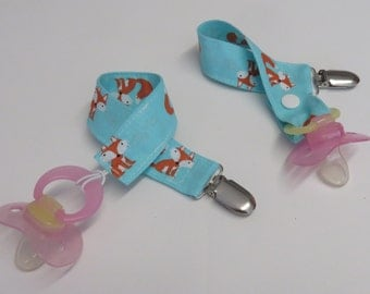 Pacifier Clip | Toy Clip | Nuk Holder Clip | Binky Clip | Baby Foxes on Light Blue