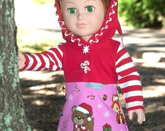18 inch doll hoodie dress, American made girl doll dress, christmas jersey doll dress, pixie hood dress, candy cane patchwork doll dress